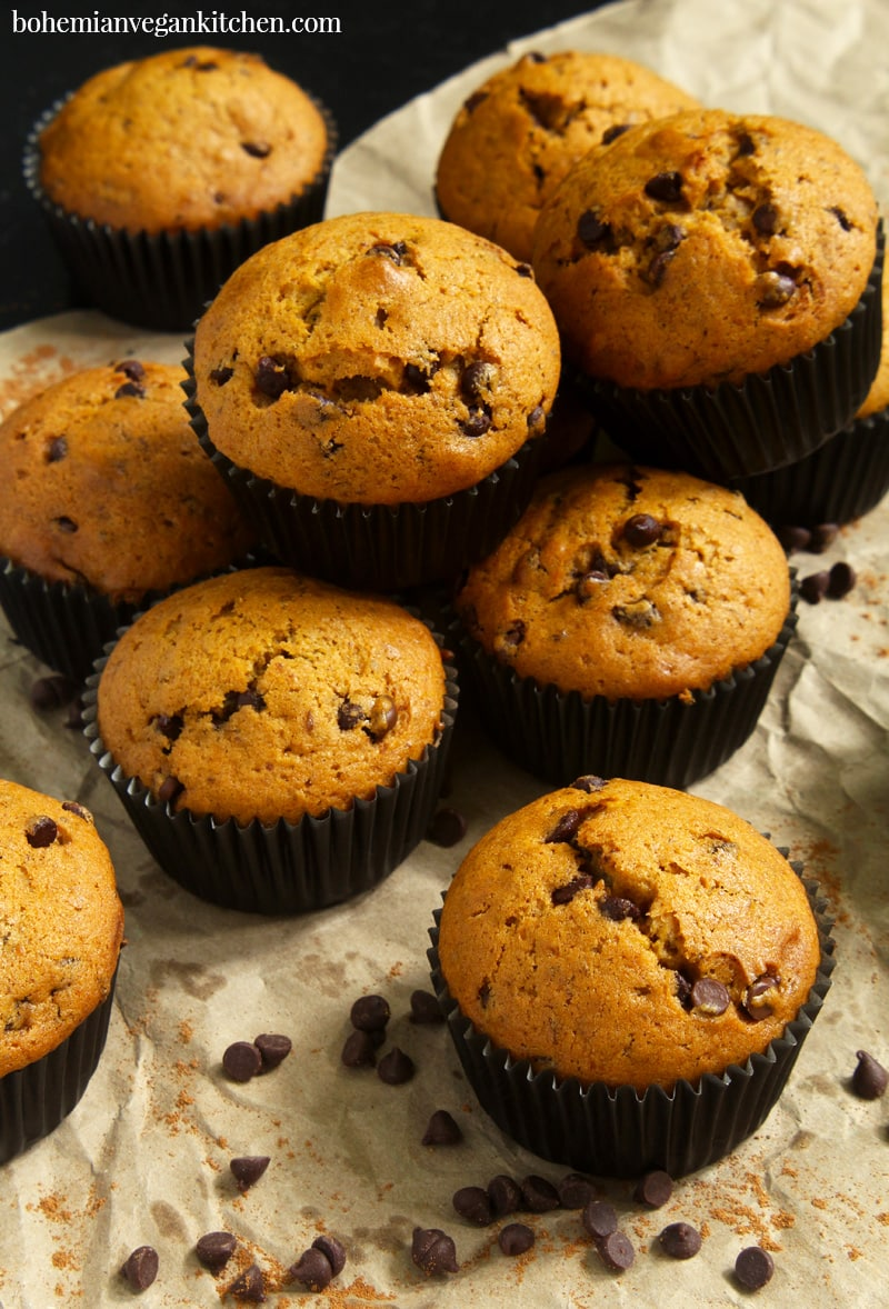 picture of vegan pumpkin muffins stacked