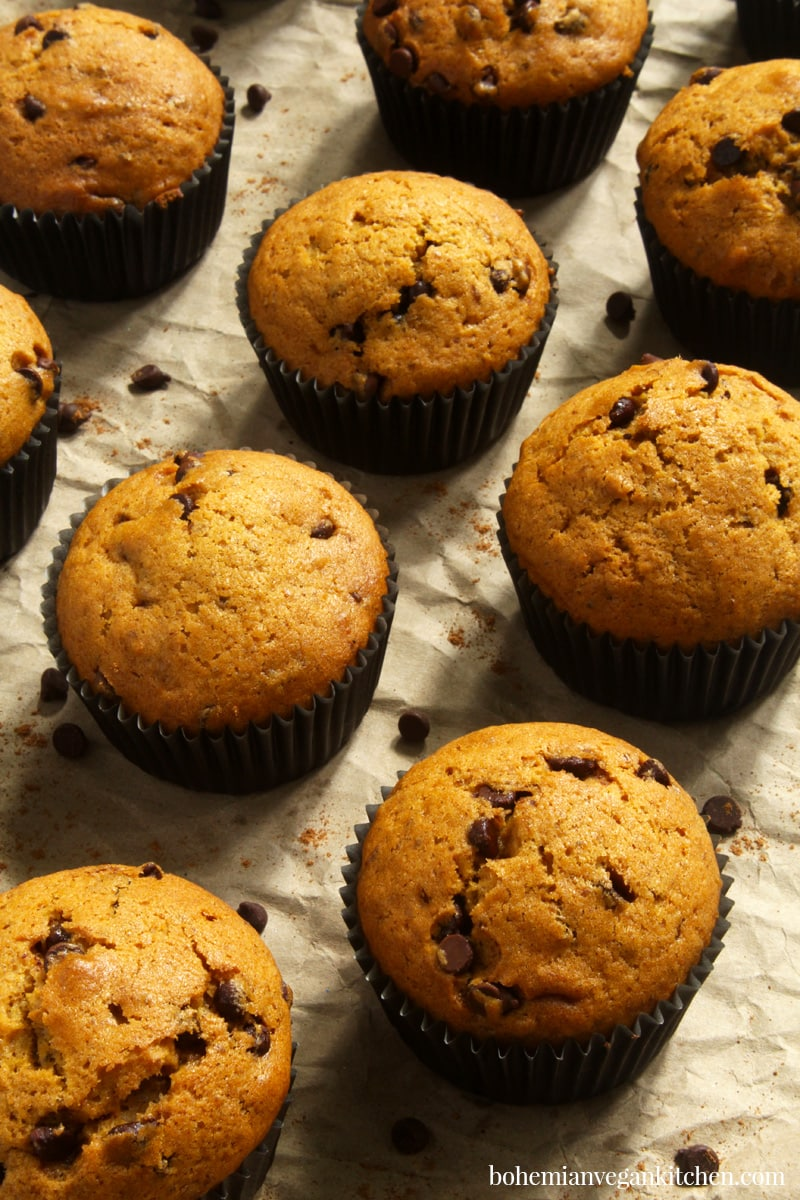 picture of vegan pumpkin muffins on brown paper