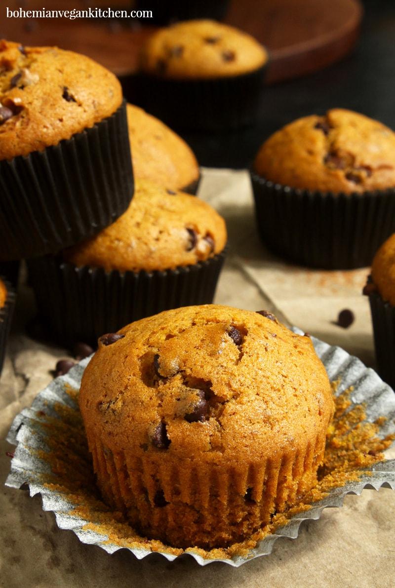 side picture of vegan pumpkin muffin, unwrapped.