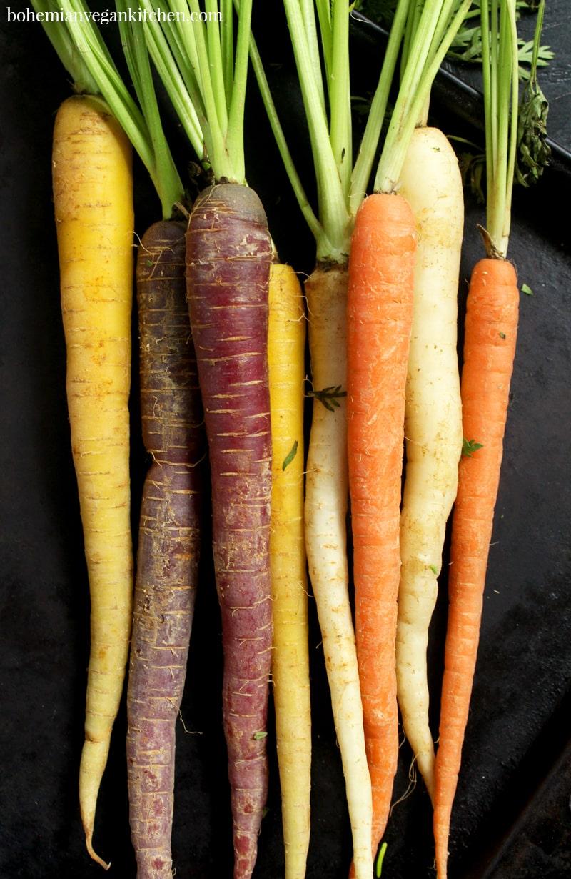 beautiful shot of rainbow carrots