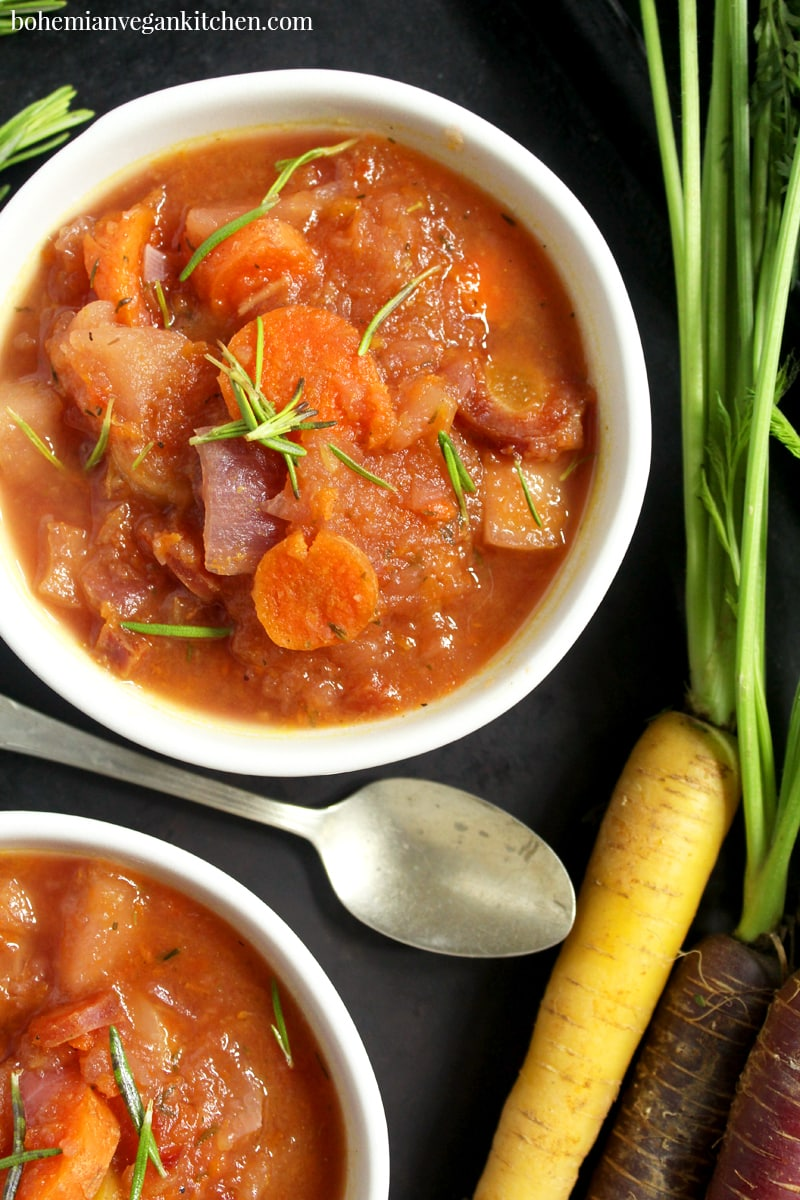 close up of carrot apple soup