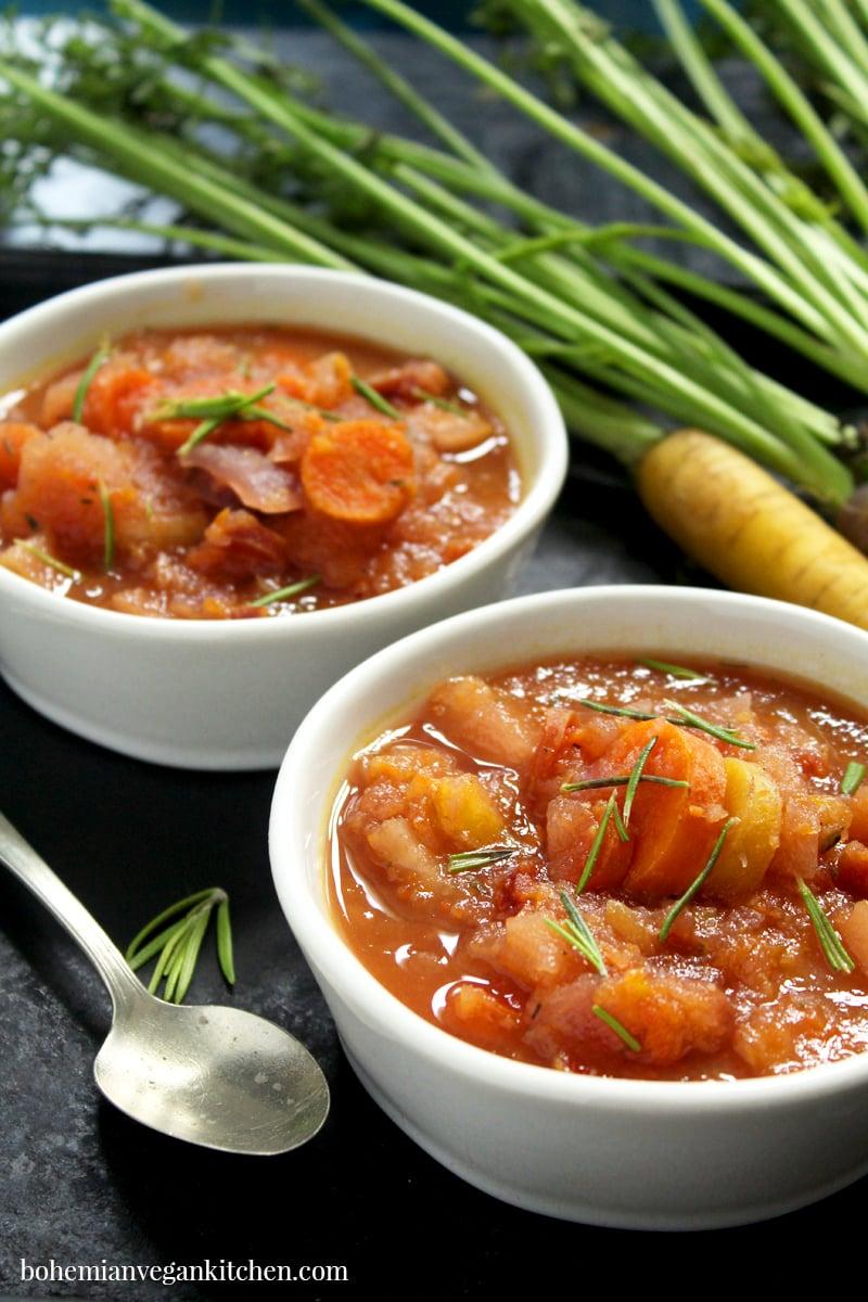side shot of carrot apple soup