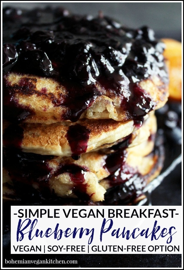 Learn the secret to making moan-worthy vegan pancakes + enjoy this simple recipe with homemade blueberry syrup! Easy to pull together, and includes instructions for gluten-free pancakes. #veganpancakes #veganpancakesglutenfree #veganpancakesrecipe #veganpancakesblueberry #veganpancakesblueberrysauce #bohemianvegankitchen