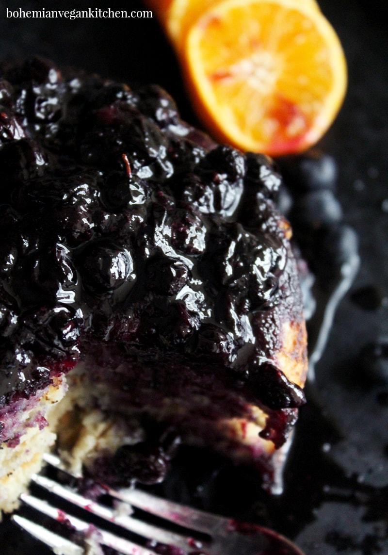 Classic Vegan Pancakes with Homemade Blueberry Syrup- simple recipe, no fuss. #veganpancakes #veganpancakerecipe #blueberrypancakes #veganblueberrypancakes #dairyfree #eggfree #bohemianvegankitchen