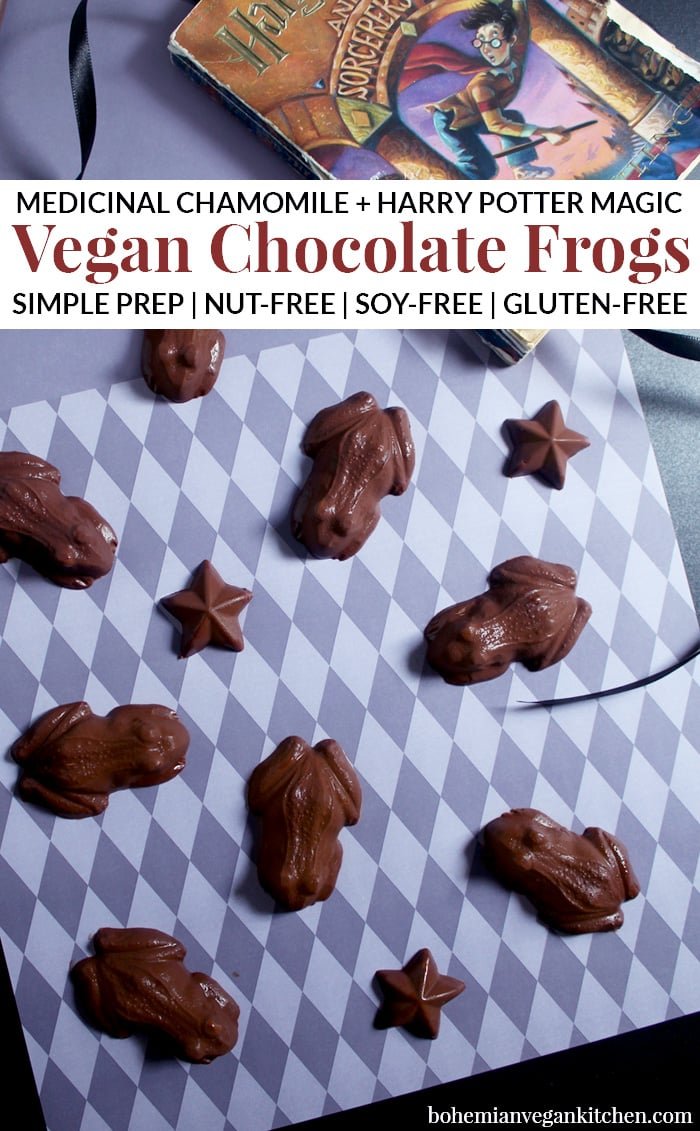 Infused with calming chamomile, these medicinal vegan chocolate frogs taste straight outta Hogwarts! It's enough to make Harry Potter proud, plus help you ace the Herbology test. Naturally vegan, gluten-free, soy-free, and nut-free. #veganchocolatefrogs #veganharrypotter #veganharrypotterrecipes #veganharrypotterdesserts #veganharrypottertreats #bohemianvegankitchen