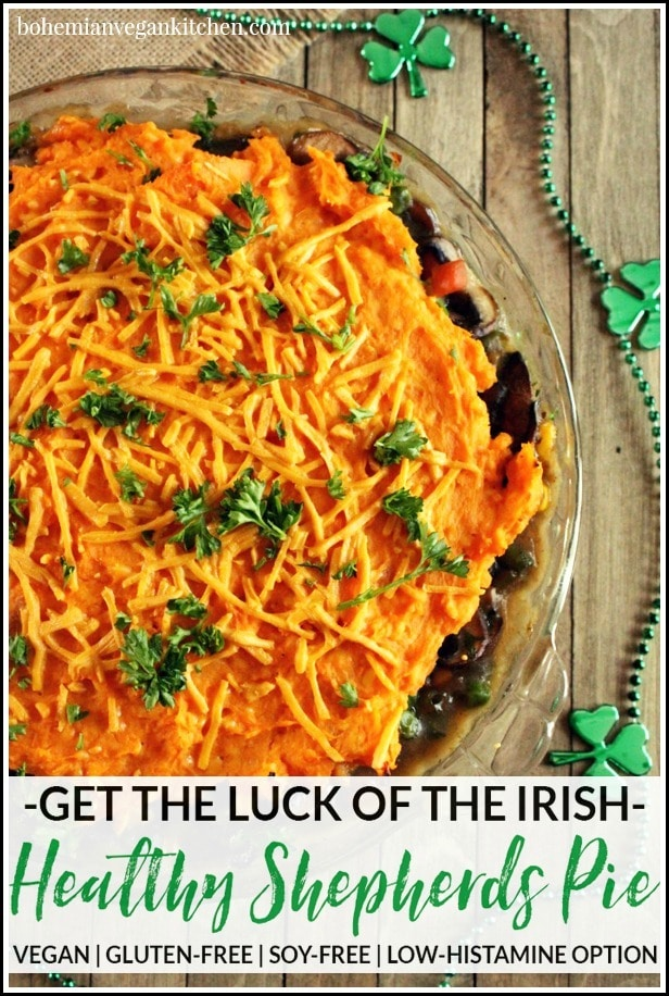 Get the luck of the Irish with this simple vegan shepherds pie! Made with sweet potatoes, this is a healthy option that is not only vegan, but naturally gluten-free, soy-free, and low-histamine friendly. #veganshepherdspie #veganshepherdspieeasy #veganshepherdspiesweetpotato #veganshepherdspiemushrooms #bohemianvegankitchen