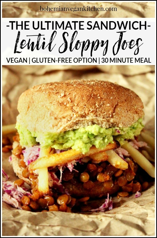 Making the Ultimate Vegan Sloppy Joe makes me want to sing like Adam Sandler! Loaded down with homemade slaw, avocado, and oven baked fries, this is one delicious ritual you don't want to miss! #vegansloppyjoes #vegansloppyjoeslentil #vegansloppyjoeseasy #vegansloppyjoesbest #bohemianvegankitchen