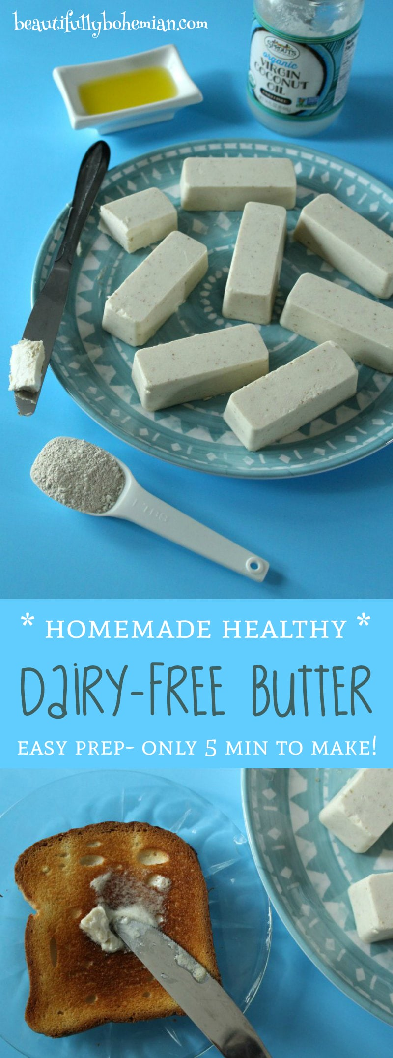 Homemade Healthy Dairy-Free Butter! EASY- takes 5 minutes to make!