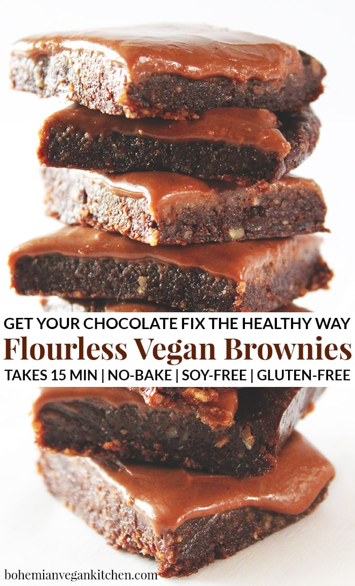 These flourless vegan brownies are just like chocolate heaven! Completely gluten-free, you don't have to worry about baking either- whip these brownies up in only 15 minutes and get your chocolate fix. You can thank me later. #flourlessveganbrownies #flourlessvegandesserts #glutenfreeveganbrownies #veganbrownies #veganbrownieshealthy #veganbrownieseasy #bohemianvegankitchen