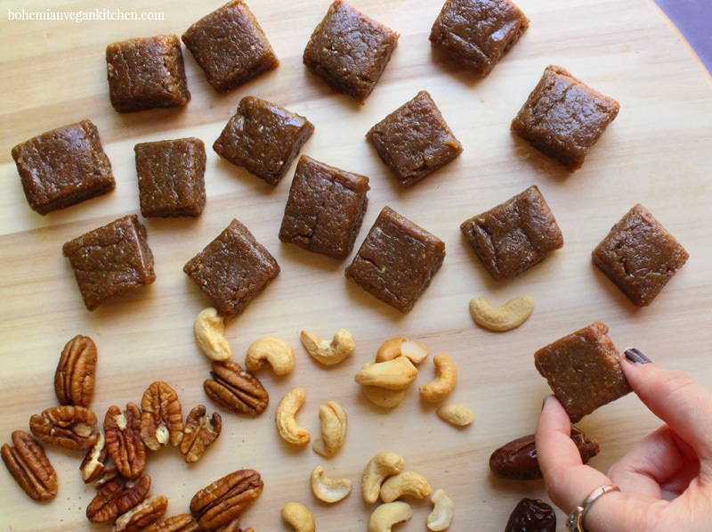 """Cast a spell over your muggle friends by serving them up a few squares of this healthy vegan treacle fudge, which is naturally dairy-free, egg-free, soy-free, and gluten-free! Best part is this fudge requires no stove-top cooking or baking of any kind, making the experience truly magical. So give it a go- you'll soon be shouting """"Accio fudge!' #harrypotterfudge #harrypotterfudgerecipe #harrypottervegan #harrypotterveganrecipes #harrypotterveganfood #treaclefudge #bohemianvegankitchen"""