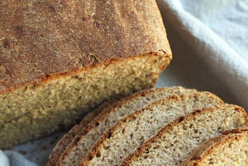 close up of homemade vegan bread