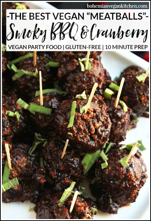 This party food is so good, no one will care it's vegan. Sweet, tangy, with a hint of smoke and fresh herbs, these BBQ bean balls are naturally vegan, gluten-free, soy-free, and can be made from start to finish in less than 30 min. #veganpartyfood #veganmeatballs #veganmeatballseasy #veganbeanballs #veganbeanballsglutenfree #bohemianvegankitchen