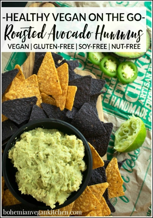 Looking for the perfect vegan hummus to take on the go? Try this EASY + HEALTHY Vegan Hummus with Avocado, which uses roasted white beans, warm spices, and jalapenos to create the perfect blend of flavor. #avocadohummus #avocadohummusrecipe #avocadohummusrecipehealthy #hummusrecipenochickpeas #oilfreehummus #bohemianvegankitchen
