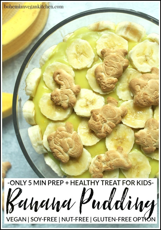 Dairy-free banana pudding is simple to pull together, but this version utilizes the natural sweetness of bananas and maple syrup as a healthy alternative to processed sugars, plus contains NO artificial coloring like traditional boxed banana pudding. Make it gluten-free (and 100% cruelty-free!) by using gluten-free + vegan animal crackers instead of traditional vanilla wafers. #dairyfreebananapudding #dairyfreebananapuddingmaplesyrup #veganbananapudding #veganbananapuddingrecipe #veganbananapuddinghealthy #bohemianvegankitchen