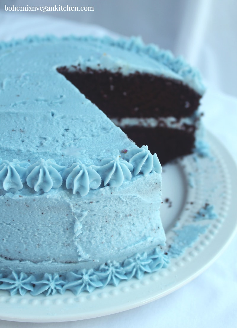 chocolate cake cut, with vegan buttercream frosting