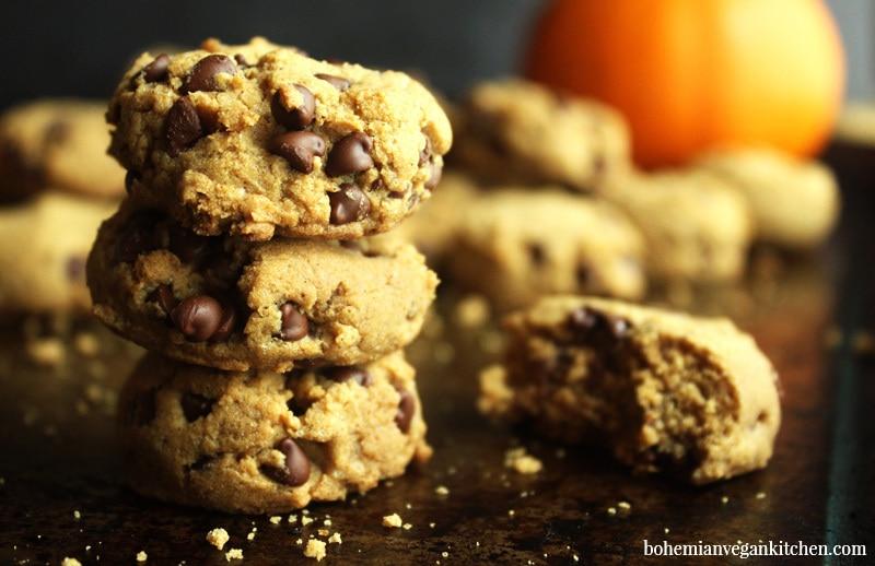 side view of vegan pumpkin cookies on tray