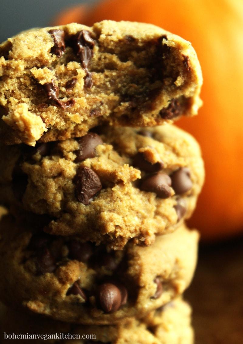 super close up picture of gluten free vegan pumpkin cookie stack