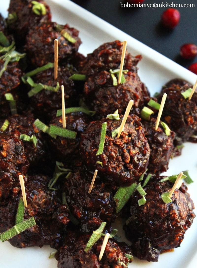 picture of vegan BBQ cranberry meatballs