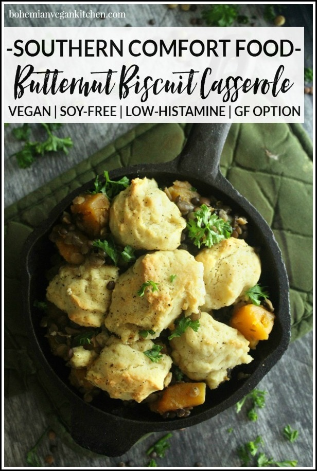 Stay warm all winter long with this easy butternut biscuit casserole! Easy to pull together, and 100% vegan. #veganbiscuit casserole #easybiscuitcasserole #dinnercasserole #vegetariancasserole #bohemianvegankitchen