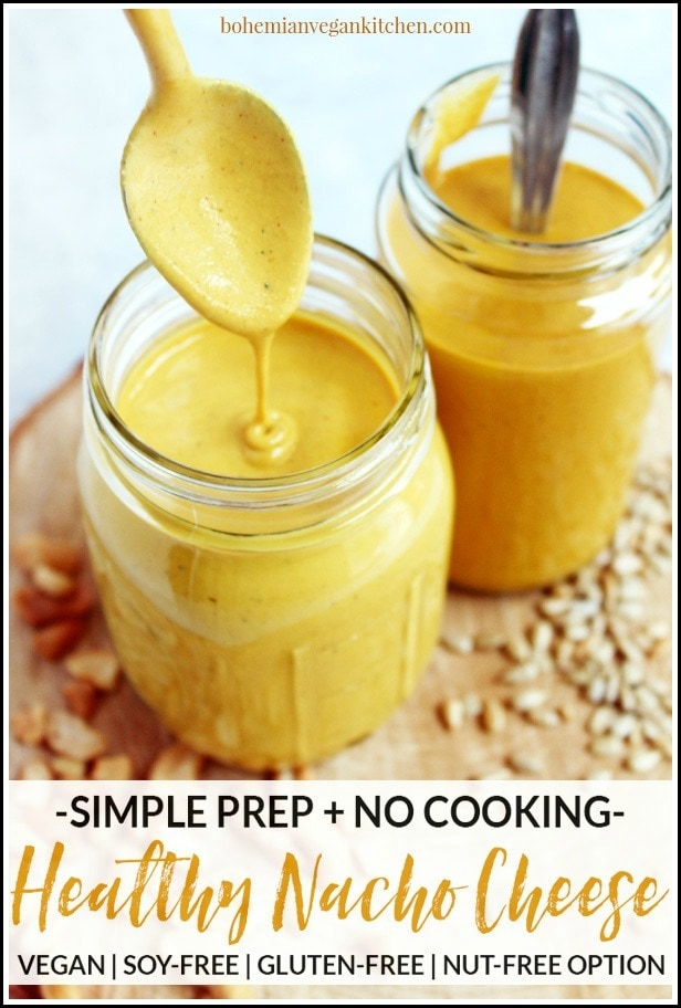This easy vegan nacho cheese sauce is THE BOMB! With only 5 minutes prep time and absolutely NO cooking necessary, you can have this sauce ready in under 30 minutes! Goes great on nachos, enchiladas, tacos, and drizzled directly into your mouth. Completely vegan and gluten-free, with a nut-free option included. #vegannachocheese #vegannachocheeseeasy #vegannachocheesesauce #vegannachocheesenutfree #vegannachocheesecashews #veganmexican #bohemianvegankitchen