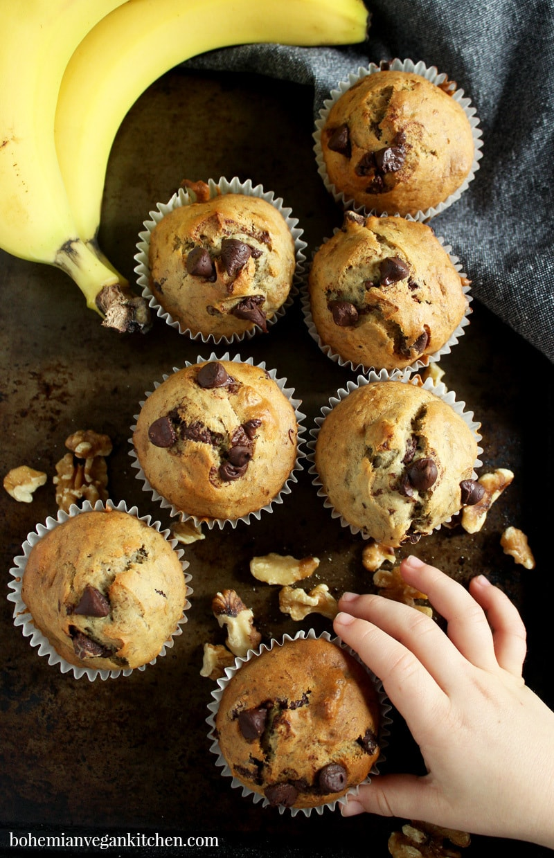 picture of vegan banana chocolate chip muffins with a child's hand reaching for a muffin