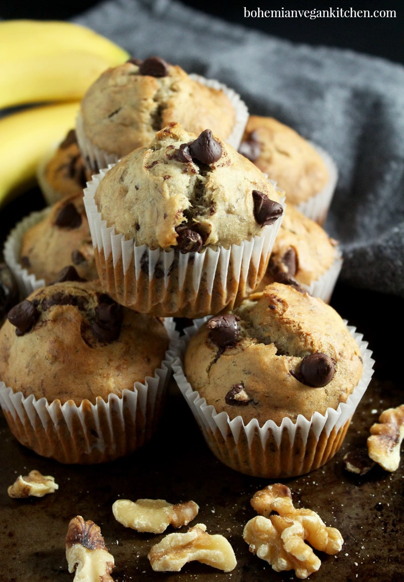 picture of vegan banana chocolate chip muffins stacked