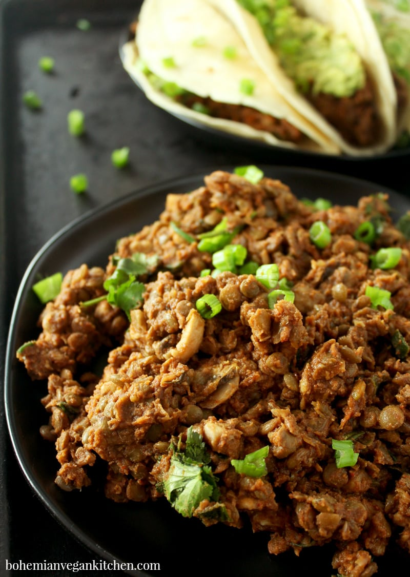 If there's one thing MacGyver taught me, it's that you can be creative with household items, and this vegan taco meat is no exception! Using simple ingredients you already have on hand, and marrying delicious Mexican flavors, you can take your tacos to the next level! #vegantacomeat #bestvegantacomeat #vegantacomeateasy #vegantacomeatlentil #vegantacomeatmushroom #vegantacomeatrecipe #bohemianvegankitchen