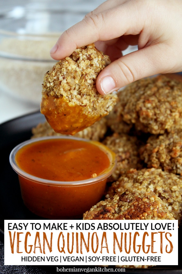 Nuggets are here to stay as one of the top kids foods of all time, right next to pizza and hamburgers. Serve your kids healthy quinoa vegan nuggets that are 100% soy-free and gluten-free, while also packing hidden veggies for an added bonus. Great for kids lunches and easy dinners! #veganchickennuggets #veganchickennuggetsbaked #veganchickennuggetseasy #veganchickennuggetskids #bohemianvegankitchen