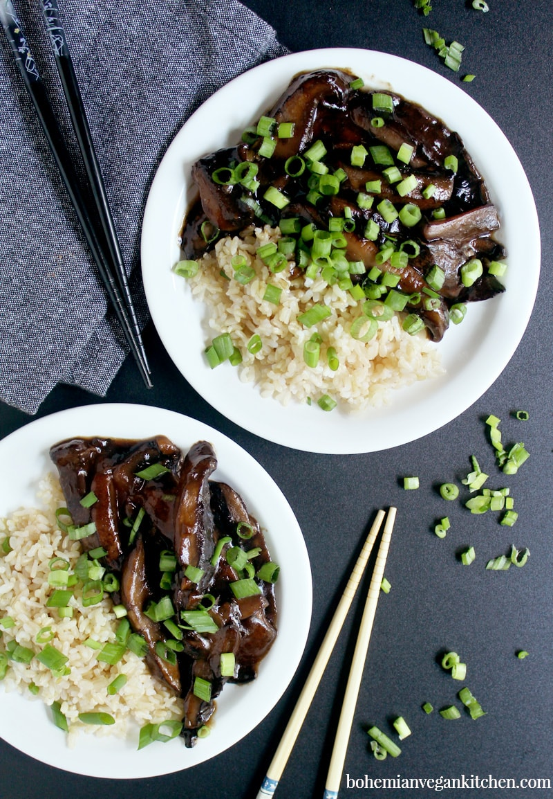 This week, don't freak out about dinner- just make some vegan Mongolian Beef instead! This homemade takeout uses mushrooms instead of tofu or tempeh, and cuts the sugar (and cook time) in HALF. Perfect for busy families during the week, and easily customizable for any allergy. #veganmongolianbeef #veganmongolianbeefrecipe #veganasianrecipes #vegantakeoutrecipes #bohemianvegankitchen