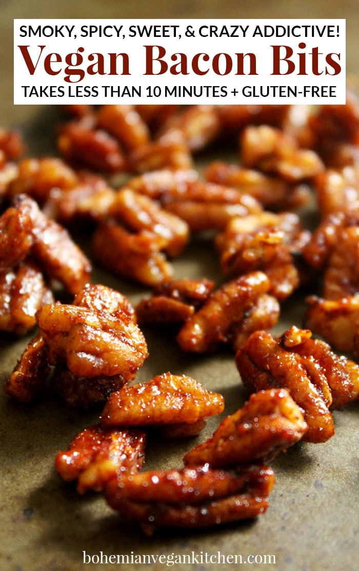 Satisfy your cravings with these easy vegan bacon bits! They're smoky. They're sweet. They're spicy. And they literally take 2 minutes to prep and 5 minutes to bake. Enjoy on baked potatoes, salads, and straight into your mouth. #veganbacon #veganbaconbits #veganbaconbitsrecipe #veganbaconrecipe #bohemianvegankitchen