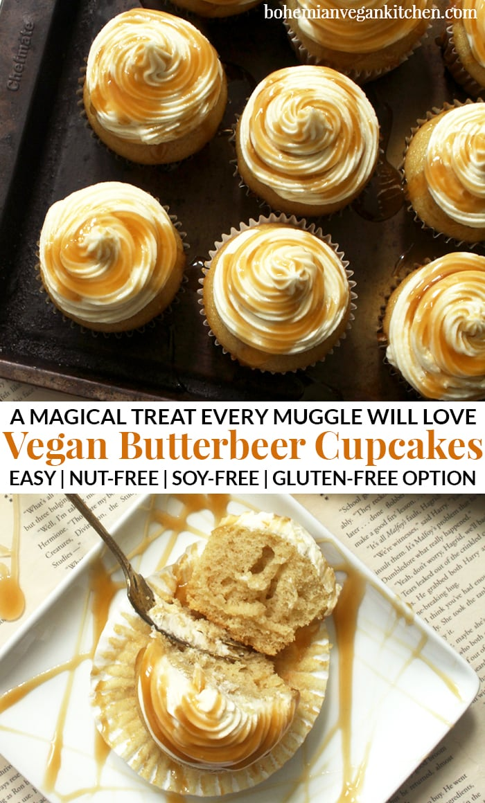 Enjoy any special occasion and impress muggles with these moan-worthy Harry Potter vegan cupcakes! In honor of the famous wizarding drink, these butterbeer cupcakes are simple to make and do not require any artificial ingredients. #harrypottervegan #harrypotterveganrecipes #harrypottervegancake #butterbeercupcakes #butterbeercupcakesvegan #butterbeercupcakeseasy #bohemianvegankitchen