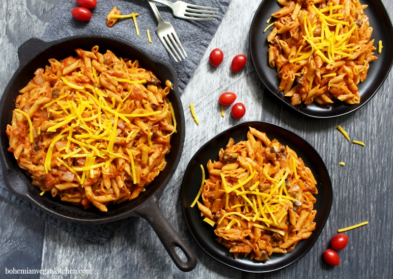 full spread of dairy free chef boyardee-- two plates and a skillet full