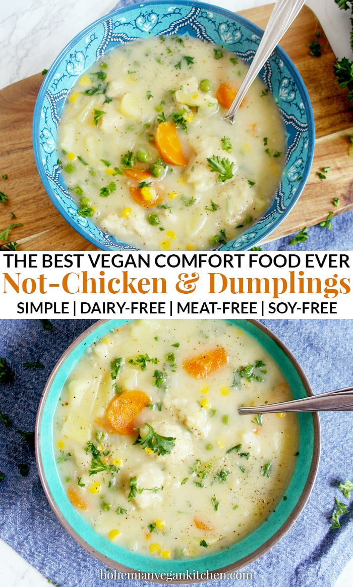 Enjoy a cozy night in with this simple vegan not-chicken and dumplings stew, which contains a delicious blend of winter veggies + LITERALLY BREAD straight in your soup bowl. Easy to make and absolutely nothing to roll out, this stew is the perfect ending to a long day. #veganchickenanddumplings #veganchickenanddumplingssoup #veganstewrecipes #vegansoup #veganfamilymeals #veganwinterrecipes #bohemianvegankitchen