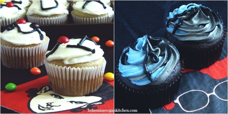 Geek out at any birthday party or Halloween gathering with these easy Stranger Things cupcakes! Naturally vegan, these cupcakes come in classic vanilla Joyce Christmas lights and dark chocolate Upside Down (R.I.P. Barb). Sure to satisfy both vanilla and chocolate lovers! #veganstrangerthings #strangerthingscupcakes #strangerthingscupcakeideas #halloweencupcakes #veganhalloweenrecipes #veganhalloweenfood #bohemianvegankitchen