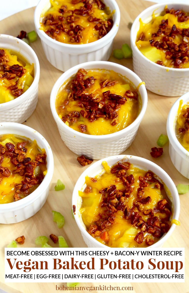 It's easy to become obsessed with this vegan baked potato soup, which is loaded down with melty dairy-free cheese and healthy homemade bacon bits! A snap to make, this soup is perfect for families and soup addicts, as each person gets their very own ramekin. Naturally vegan, this soup is meat-free, dairy-free, egg-free, and gluten-free. #veganbakedpotatosoup #veganbakedpotatosoupdairyfree #veganpotatosoup #veganpotatosoupeasy #veganbakedpotatosouprecipes #veganbakedpotatosouphealthy #bohemianvegankitchen