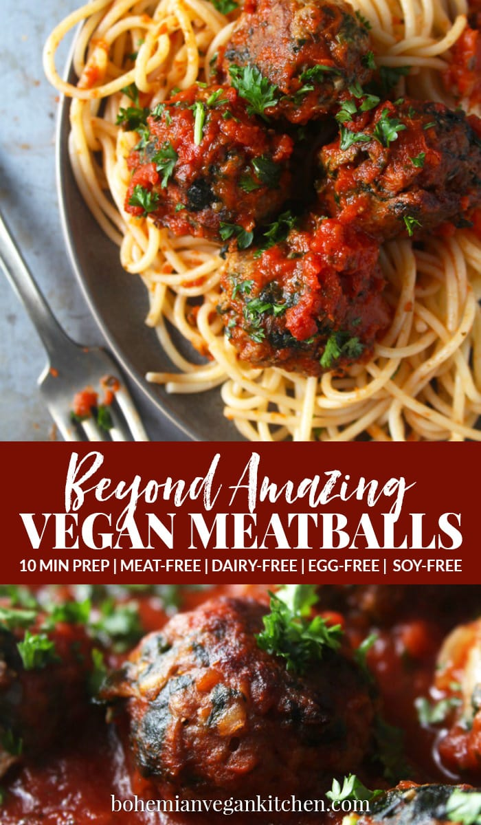 These baked vegan meatballs are so BEYOND AMAZING, no one will be able to tell the difference! Made using Beyond Beef and chopped spinach, these meatballs are EASY to make and perfect for any holiday, party, or romantic dinner in. #veganmeatballs #veganmeatballseasy #veganmeatballsbeyondmeat #quickvegandinner #veganholidayrecipes #vegandinnereasy #bohemianvegankitchen