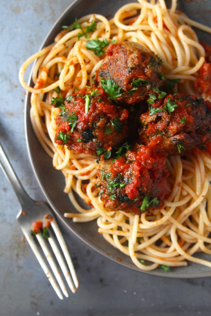 Picture of beyond meatballs with a plate of spaghetti.