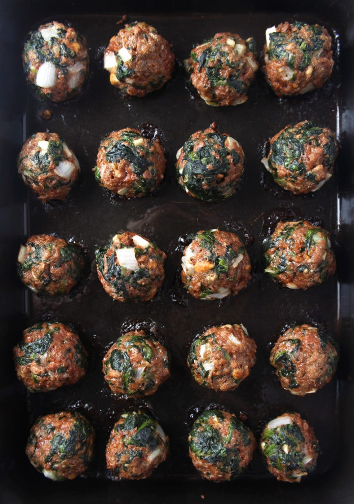Picture of meatballs fresh out of the oven.
