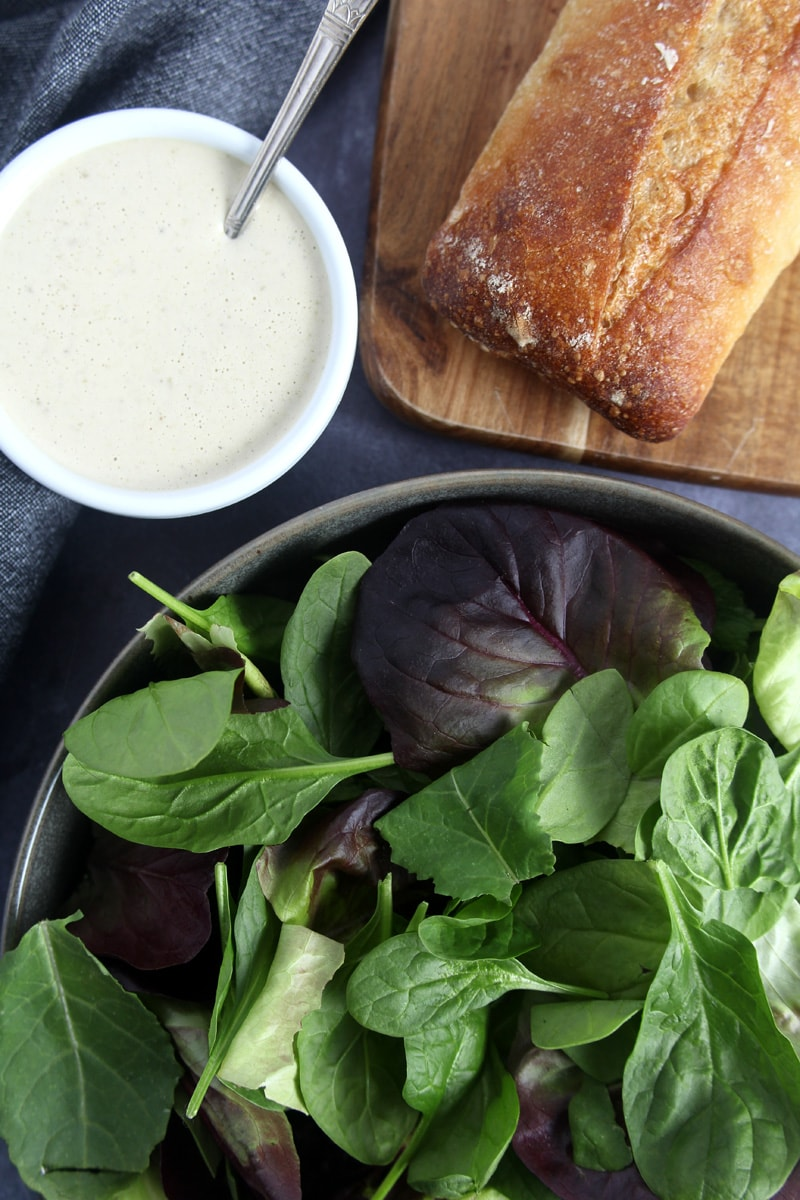 Julius Caesar may not have invented the Caesar salad, but I bet he would love this vegan Caesar salad, which is loaded down with chicken alternative, fresh bread croutons, and a tangy homemade dressing. A snap to make, this salad hits the spot and can be enjoyed any day of the week. #vegancaesarsalad #vegancaesardressing #vegancaesardressingtahini #veganchickencaesarsalad #veganchickencaesar #bohemianvegankitchen