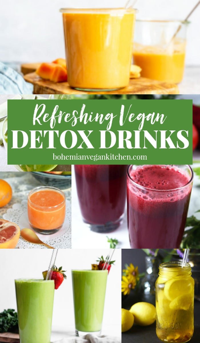 Fuel your body the easy way with these refreshing vegan detox drink recipes! It's the best way to start the year or any morning routine. Recipes include smoothies, teas, and juices! #detoxrecipes #detoxdrinks #juicerecipes #juicecleanse #smoothierecipes #smoothiedetoxcleanse #bohemianvegankitchen