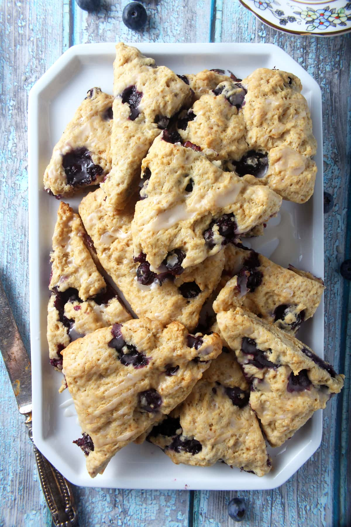 tray full of vegan blueberry scones
