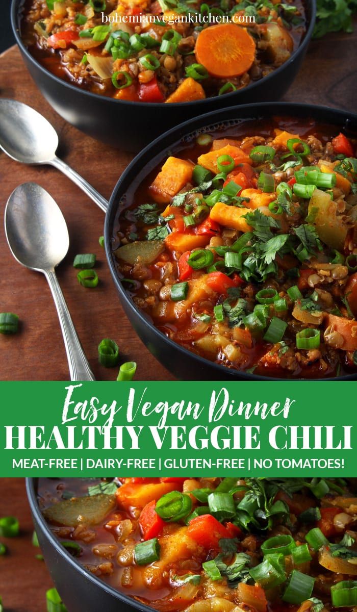 Sometimes you just want comfort food, like this easy vegan chili recipe. Simple to make, this healthy vegan chili is loaded down with a variety of vegetables. But there's a twist: no tomatoes! Completely gluten-free and totally flexible, this chili makes the perfect weeknight dinner. #veganchilirecipe #veganchilieasy #veganchilihealthy #vegansouprecipes #veganweeknightdinners #easyveganrecipes #bohemianvegankitchen