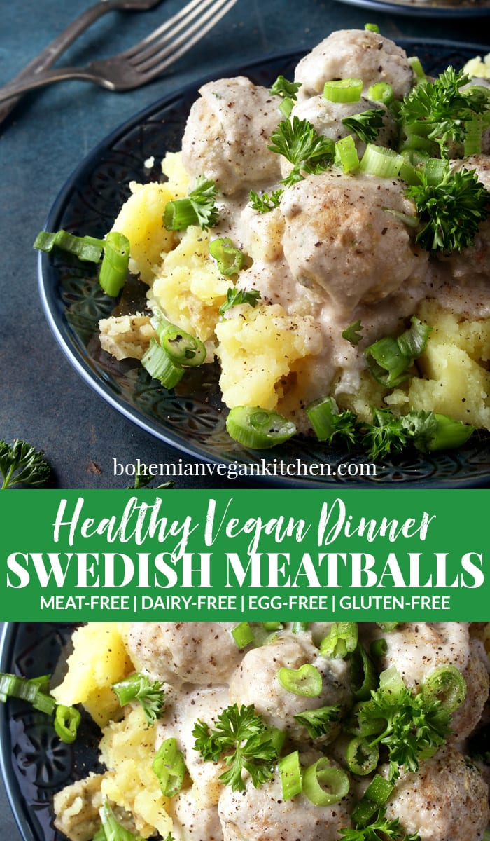 Who says comfort food has to be unhealthy? These vegan Swedish meatballs are not only absolutely delicious, but healthy too! Using ingredients like white beans, oats, and cashews gives this meal a healthy kick while giving you all the comfort feels. #vegancomfortfood #veganswedishmeatballs #veganswedishmeatballsgravy #vegandinner #vegandinnerrecipes #veganmeatballsbeans #bohemianvegankitchen