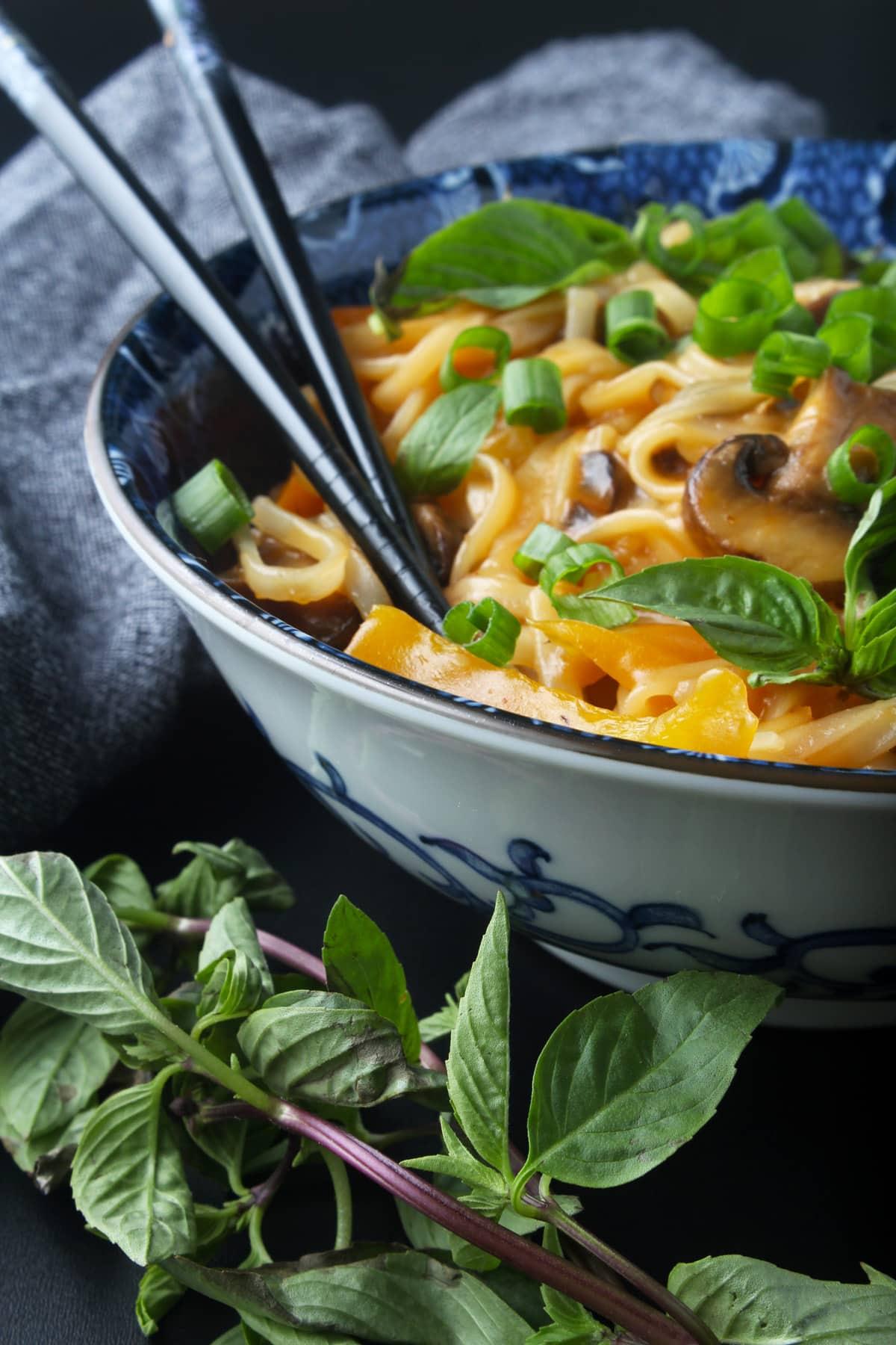 side picture of vegan drunken noodles