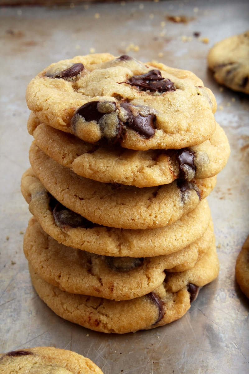 A delicious stack of vegan chocolate chip cookies.
