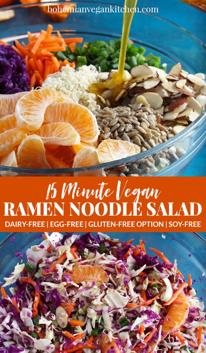 Pinterest pin for ramen noodle salad.