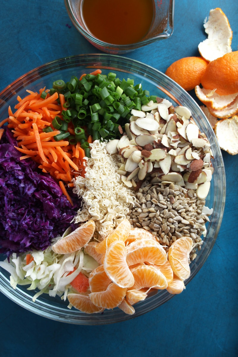 Above shot of all the ingredients of ramen noodle salad.
