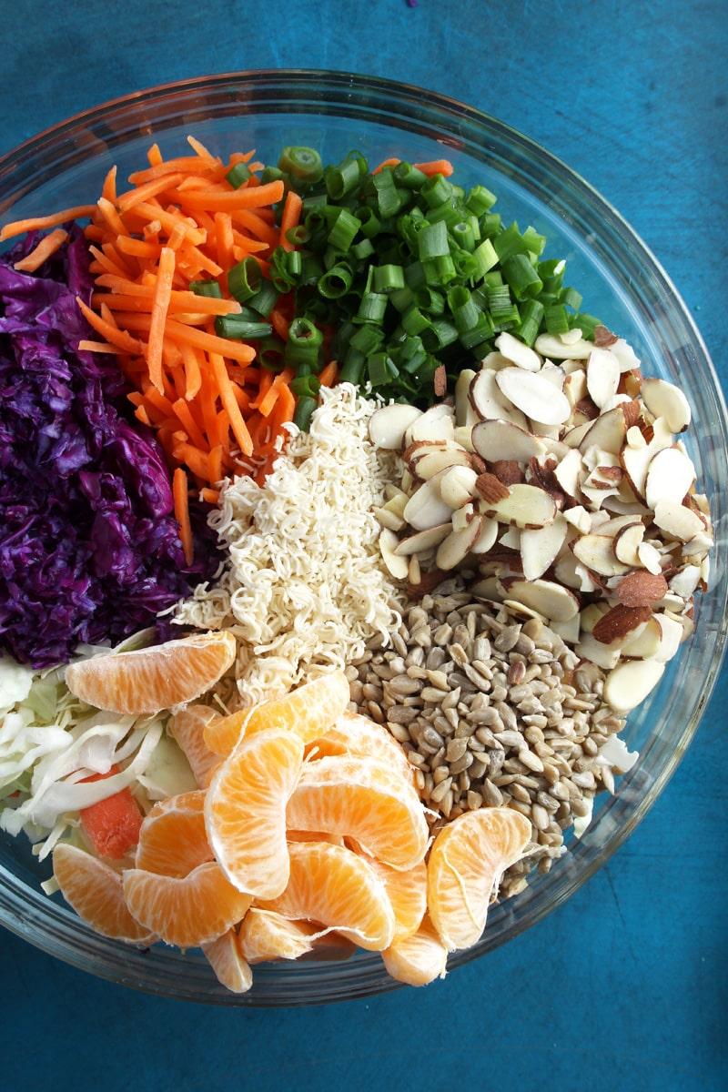 An above shot of the ramen noodle salad.