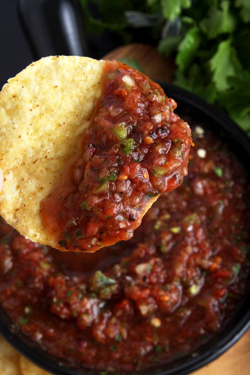 Picture of salsa on a chip.