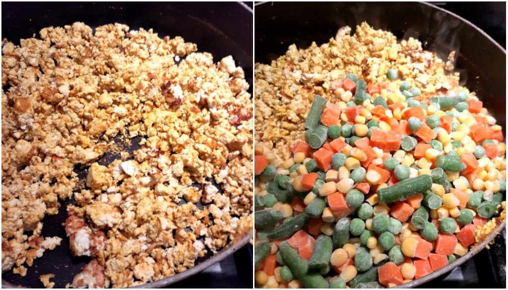 Picture of tofu scrambled on left, and then frozen vegetables added on right.